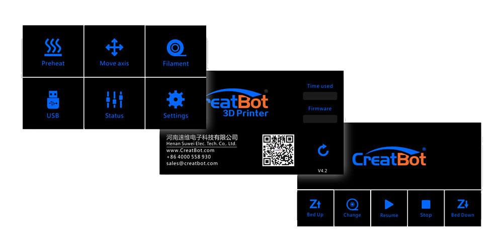 3D принтер CreatBot DX Plus экран