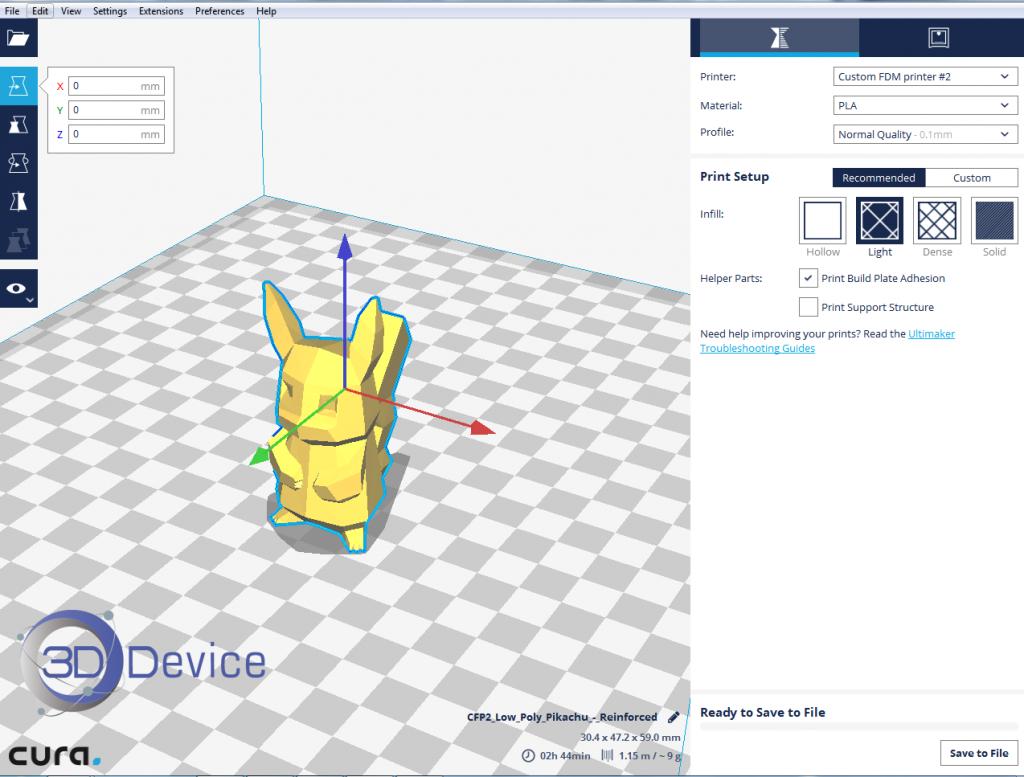 Отображение плотной модели в программе Cura 2