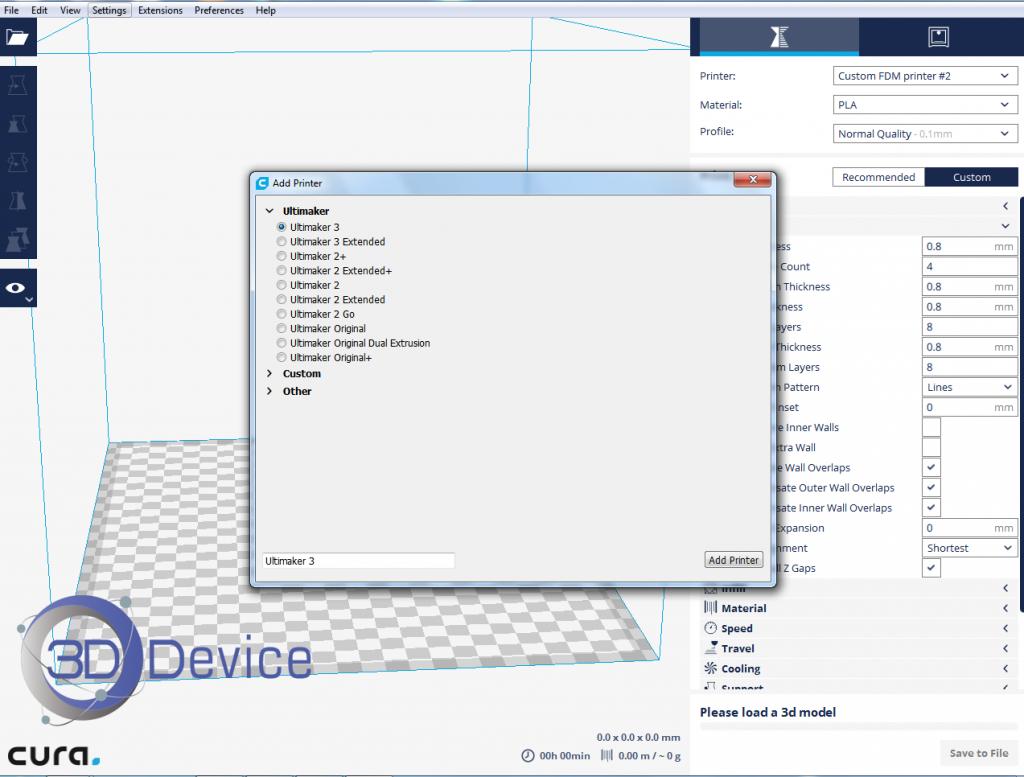Первый запуск программы Cura 2 выбор 3Д принтера