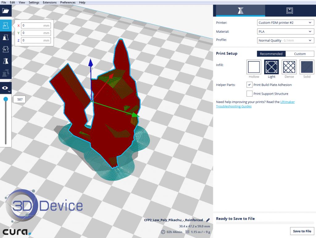 Послойное отображение 3D модели в программе Cura 2