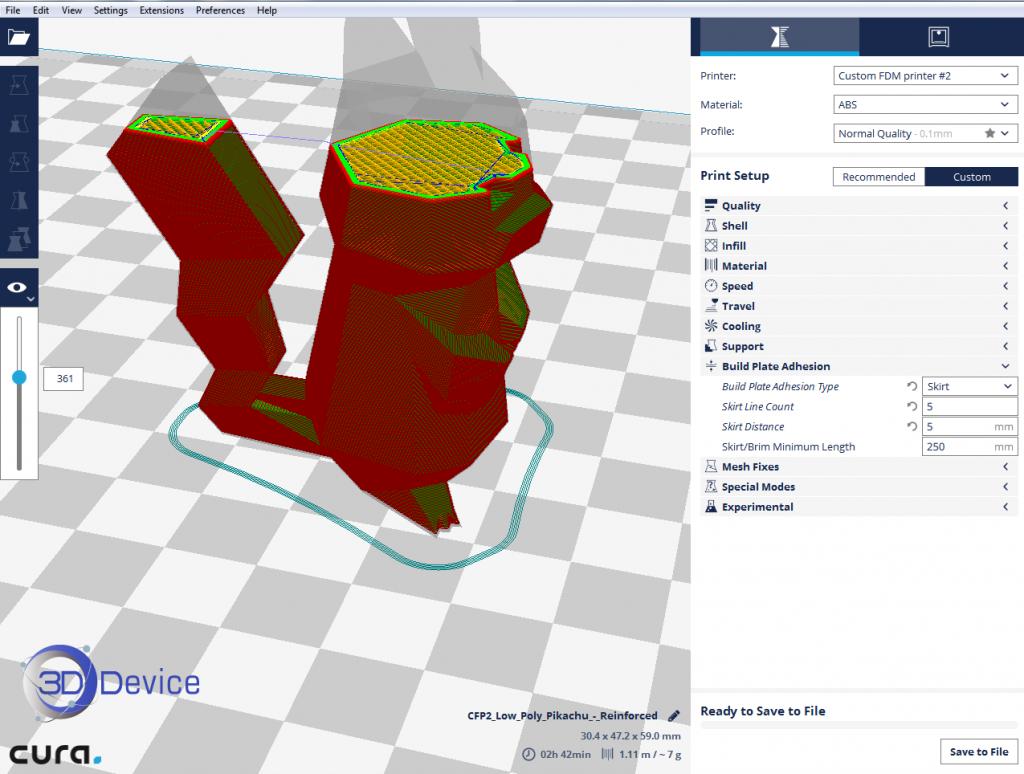 Прилипание к платформе 3D принтера юбка