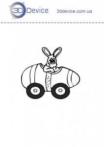 Заяц в машинке трафареты для 3D ручки