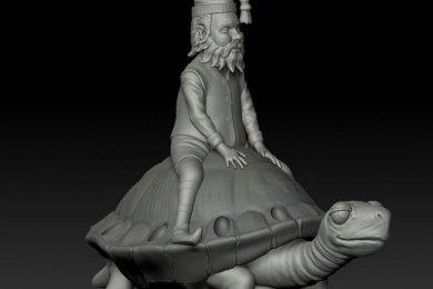 3Д моделирование гном на черепахе