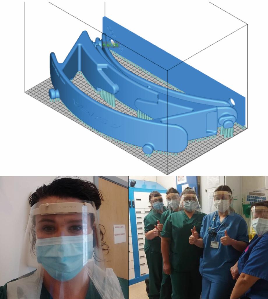 Модели для 3D печати защитного экрана и крепежа для медицинской маски