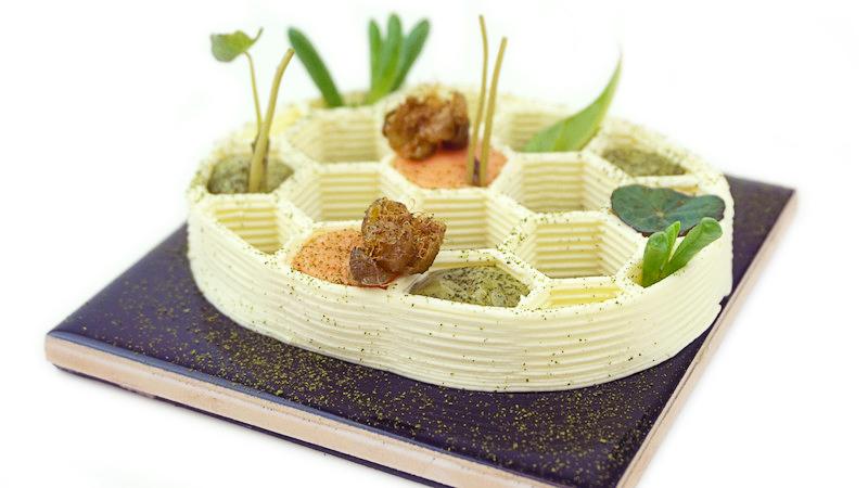 Трехмерная еда первый 3Д ресторан еды