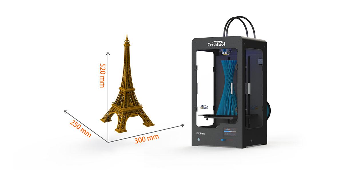 3D принтер CreatBot DX Plus область друку