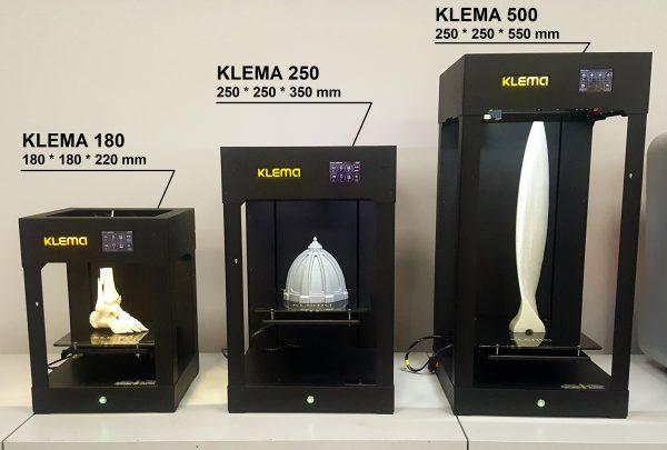 3D принтеры KLEMA - размеры