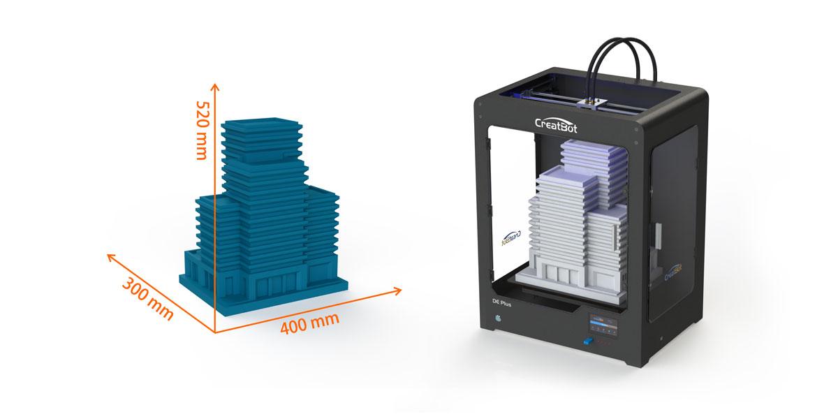 3D принтер CreatBot DЕ Plus область друку
