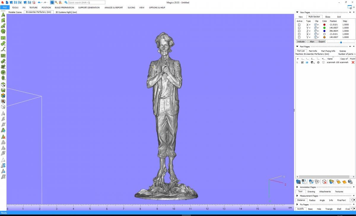 3Д-сканирование скульптуры человека