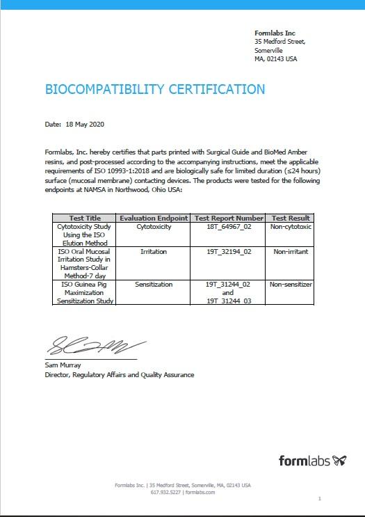 Certification of Biocompatibility